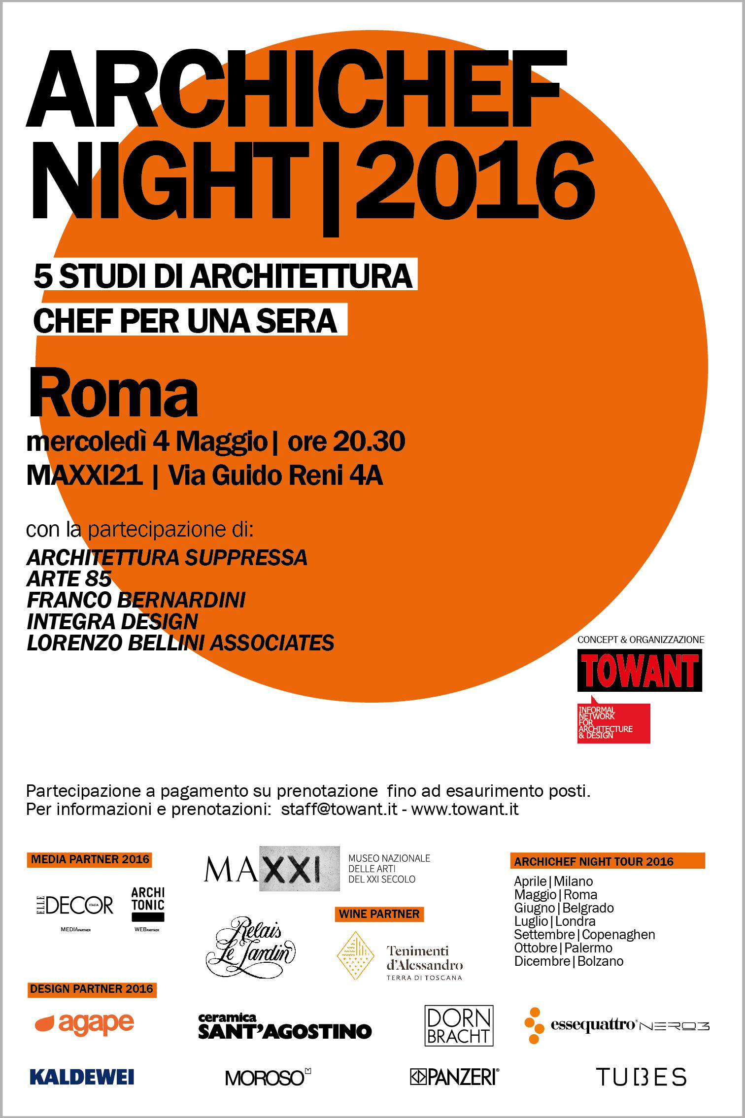 Archichef night roma cinque architetti chef per una sera for Roma ordine architetti
