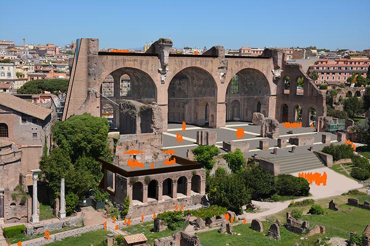 Sistemazione del nuovo ingresso nella basilica di Massenzio