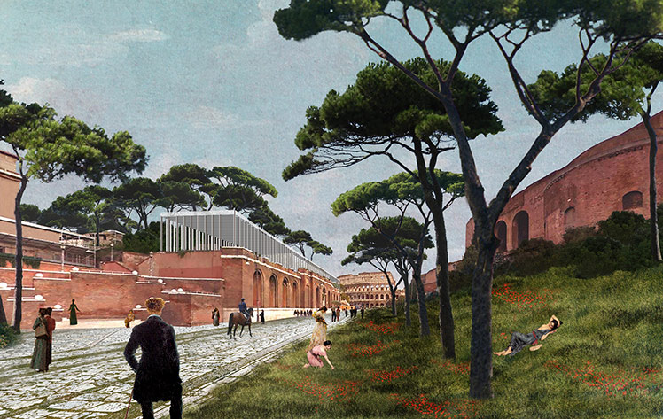 Vista di Via dei Fori Imperiali con il volume del ristorante sulla terrazza cederna