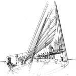 12 - Progetto della Chiesa di S. Giovanni da Capestrano sull'Autostrada degli Abruzzi, L'Aquila - Vista prospettica