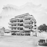 12 -  Edificio residenziale plurifamiliare ed attività commerciali in via Trilussa, Albano Laziale (RM) - Vista prospettica esterna
