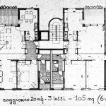 11 - Complesso residenziale di 207 alloggi nel PdZ n.10 - 11 Casal de' Pazzi - Nomentano, Roma, per Consorzio Galileo '67; progetto CoPER, direzione lavori con ing. F. De Trovato - Pianta tipologia alloggio da 105 mq