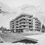 13 -  Edificio residenziale plurifamiliare ed attività commerciali in via Trilussa, Albano Laziale (RM) - Vista prospettica esterna