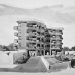 """14 - Edificio residenziale plurifamiliare ed attività commerciali - Coop. """"LA STELLA"""" in via della Stella, Albano Laziale (RM) - Vista prospettica esterna"""