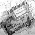 16 - Progetto di ristrutturazione e riuso a biblioteca e centro culturale dell'ex Mercato Comunale, Civita Castellana (VT); con F. Dinelli e R. Nicolini. Concorso in due fasi, I premio, realizzato -Vista assonometrica