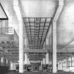 13 - Progetto di ristrutturazione e riuso a biblioteca e centro culturale dell'ex Mercato Comunale, Civita Castellana (VT); con F. Dinelli e R. Nicolini. Concorso in due fasi, I premio, realizzato - Sezione prospettica