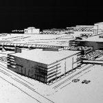 """16 - Studio del parcheggio multipiano comprendente la nuova stazione ferroviaria, Aeroporto """"L. Da Vinci"""", Fiumicino (RM), per ADR - Vista prospettica"""