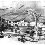"""16 - Ospedale psichiatrico di Fermo; con M. Petrignani. Concorso, I premio ex aequo, motto """"La cittadella"""" - Vista prospettica"""