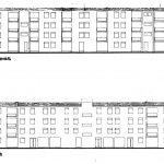 17 -  Quaranta appartamenti a Guidonia (RM), per IACP Roma; con M. Fornari - Prospetti ovest ed est
