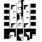 18 - Progetto di massima ed esecutivo della sistemazione urbanistica ed edilizia di 250 alloggi ad Ancona - Verbena, per Coop. Stamura; progetto CoPER - Prospetto