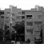 19 - Progetto di massima ed esecutivo della sistemazione urbanistica ed edilizia di 250 alloggi ad Ancona - Verbena, per Coop. Stamura; progetto CoPER - Vista esterna