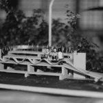 19 - Stazione di servizio Casilina - Aquino sull'Autostrada Roma - Napoli con parcheggio e area attrezzata per la sosta, per Società Autostrade; con R. Giordano e geom. D. Iacobucci. Concorso - Vista del plastico