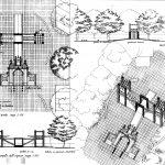 18 - Sistemazione delle aree di accesso al Parco Regionale di Aguzzano da p.le Hegel e da v.le Kant, Roma. Concorso nazionale, I premio - Pianta, prospetti, sezioni e viste assonometriche
