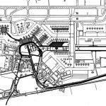 """21 - Proposta per una nuova aerostazione Alitalia nell'area centrale e merci dell'Aeroporto """"L. Da Vinci"""", Fiumicino (RM) - Planimetria generale"""