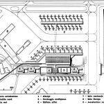 """22 - Proposta per una nuova aerostazione Alitalia nell'area centrale e merci dell'Aeroporto """"L. Da Vinci"""", Fiumicino (RM) - Stralcio planimetrico"""