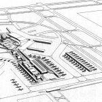 """23 - Proposta per una nuova aerostazione Alitalia nell'area centrale e merci dell'Aeroporto """"L. Da Vinci"""", Fiumicino (RM) - Vista prospettica aerea"""