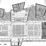 22 - Teatro e centro culturale multimediale nell'ex Consorzio Agrario, Pomezia (RM); con M. C. Calvani,  A. De Cesaris, C. Prati e F. Tegolini. Concorso nazionale, II premio - Pianta piano terra