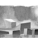 25 - Teatro e centro culturale multimediale nell'ex Consorzio Agrario, Pomezia (RM); con M. C. Calvani,  A. De Cesaris, C. Prati e F. Tegolini. Concorso nazionale, II premio - Prospetto