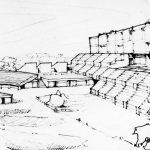 2 - Progetto di liceo ginnasio, istituto d'arte ed abitazioni su un'area adiacente Palazzo dei Diamanti, Ferrara; con AUA. Concorso, II classificato - Vista prospettica
