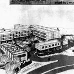 2 - Progetto di un istituto tecnico commerciale in Amandola (AP); con Studio Architetti. Concorso nazionale, II premio - Vista prospettica
