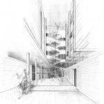 3 - Progetto di edificio per abitazioni in via Francesco Crispi, Napoli - Vista prospettica