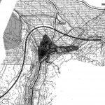 7 - Piano Paesistico del versante aquilano del Gran Sasso e nuovo tracciato dell'A24 attraverso i Comuni di Camarda e Assergi (AQ); con ingg. E. Lenti e E. Tomassi - Planimetria