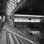 11 - Città dello Sport ad Ancona, progetto degli impianti sportivi; con ing. F. Braga, R. Magagnini, C. Pediconi, ing. F. Sandroni, P. Trebeschi e T. Valle - Vista interna del Palazzetto