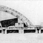 3 - Progetto del nuovo Palazzo dello Sport di Firenze; con A. Anselmi e G. Milani. Concorso nazionale, III premio - Prospetto longitudinale