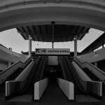 7 - Progetto di complesso polifunzionale con centro commerciale, parcheggio sotterraneo, servizi di riqualificazione delle aree e collegamento con la fermata Metro Arco di Travertino, Roma; in collaborazione - Vista dell'ingresso alla Metro