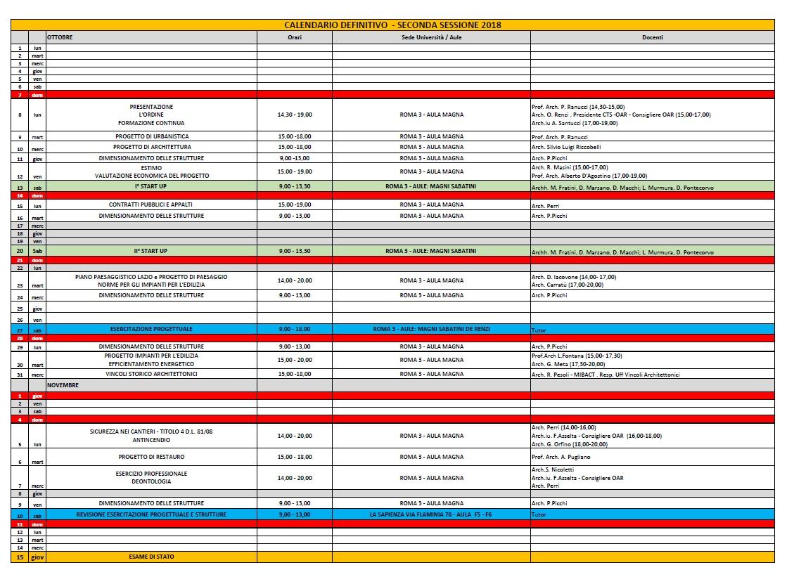 Calendario Esami Roma Tre.Aggiornamento Calendario Seminari Ed Esercitazione